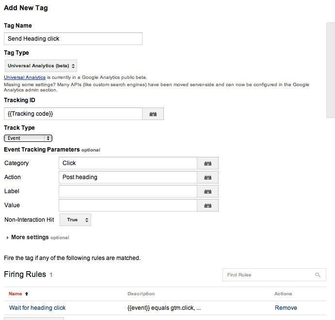 New Universal Analytics tag to send the heading clicks