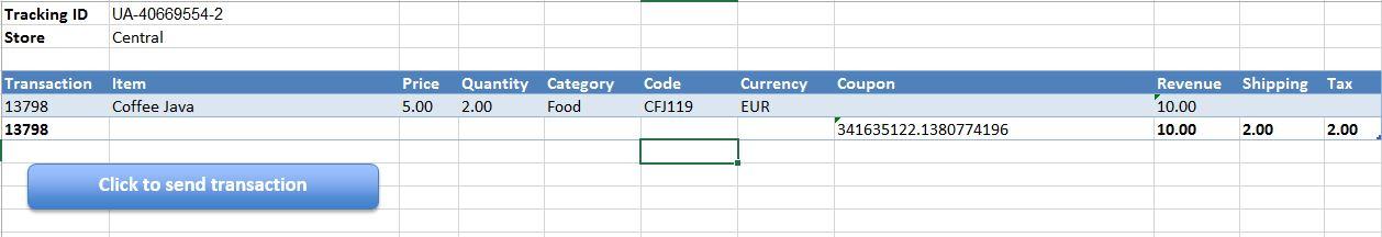 Transaction data in Excel