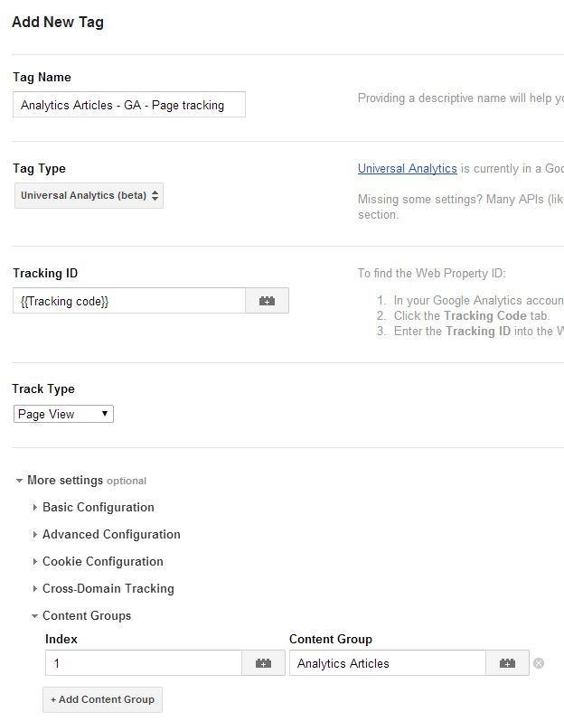 Pageview tag for Content Group in Google Tag Manager