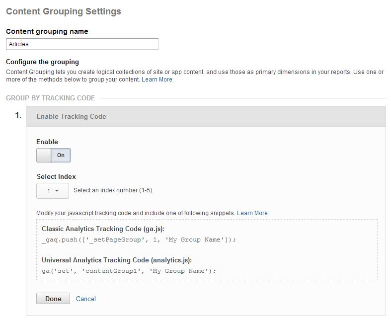 Content Grouping settings in GA