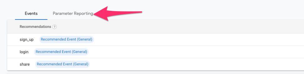 Parameter reporting tab